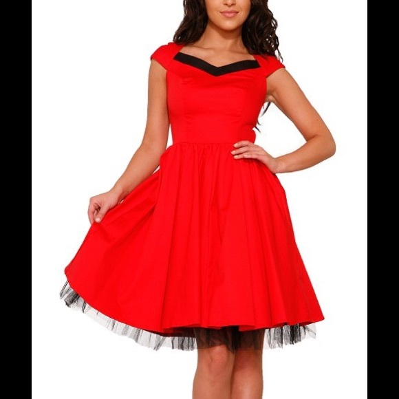 Hearts & Roses London Dresses & Skirts - Red & Black Chiffon-Trim Sweetheart Dress L US 10